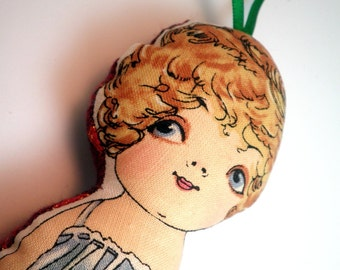 Ornament or Worry Doll  - Vintage Inspired Paper Doll - Peggy - FREE SHIPPING