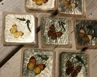 Tiki bar, butterfly coasters, mid century bar coasters, genuine plastic, real butterflies, set of 8, 60s bar items, made in hong kong
