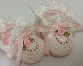 6 Pair Baby Booties Pink and Blue Card and Craft Embellishment