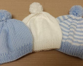 Newborn Hospital Hat. White Blue Newborn Hospital Beanie. Baby Boy Newborn  Hats. Newborn Baby Hats. Newborn Beanies. Hand Knitted. f3be285a593c