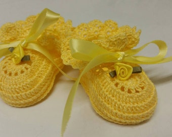 Baby Girl Booties, Crochet Baby Booties,  Yellow Roses Newborn Baby Girl or Reborn Doll, Baby Shower Gift, Christening, Baptism