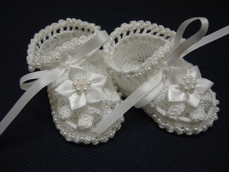 4735519132829 Baby Booties Baby Girl Booties Christening Baby Shoes Christening Crochet  Booties White Flowers Pearls Newborn Girl Reborn Baby Shower Gift