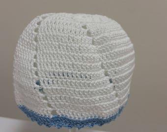 Newborn Baby Hat Baby Boy Hat Baby Boy Hospital Hat Infant Beanie Hat Baby Hat Blue and White Crochet Photo Prop Hat Christening Baby Shower
