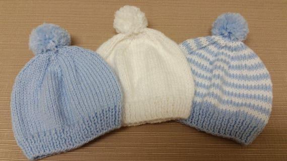Newborn Hospital Hat. White Blue Newborn Hospital Beanie. Baby  2a4f30628bc