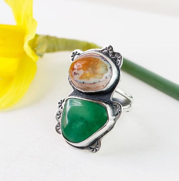 bague magique fen tre opale de feu et pierre turquoise vert etsy. Black Bedroom Furniture Sets. Home Design Ideas