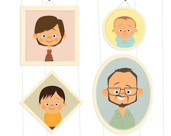 Custom Illustrated Family Portrait - Hanging Pictures