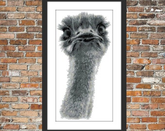 Ozzy Ostrich - a Counted Cross Stitch Pattern