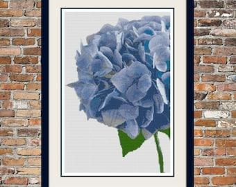 Blue Hydrangea Counted Cross Stitch Pattern