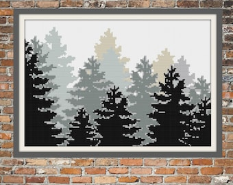 Trees in the Mist - a Counted Cross Stitch Pattern