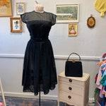 Vintage 50s Black Sheer Lace Stunning Cocktail Dress
