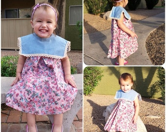 SALE Pretty in Pink Shabby Chic Toddler Dress Yoke Collar in Roses and Crocheted Lace Trim SZ 2t 3t