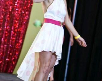 Pink Polka Dot Sexy Low Back Halter Dress Reconstruct Size Small Medium