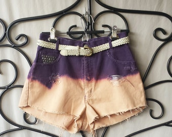 Vintage Jean Shorts Ombre Dyed Purple Peach Distressed Denim Retro High Waisted 29 Inch