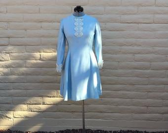 Vintage 60s Blue Retro Party Dress Jackie O Formal Sz XS S