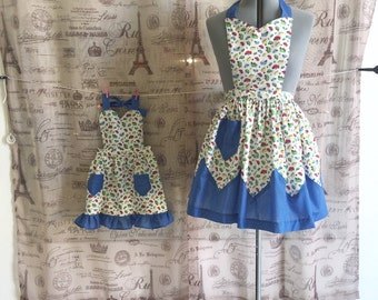 Retro Inspired Kitchen Apron Mother Daughter Matching Set Kitschy Mushrooms and Polka Dots