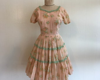 Western Squaredance Floral Lolita 60s Pink Dress Sz S/M