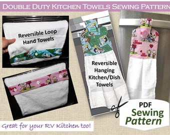 NEW Double Duty Kitchen Towels PDF Sewing Pattern. Reversible. Hanging Towel. Continuous Loop Towel. DIY Hostess Gifts. Holiday Decor