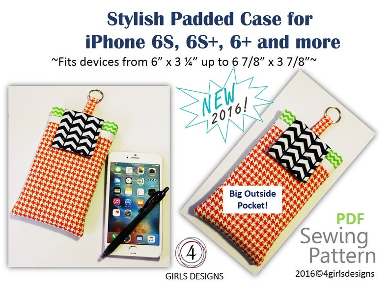 Instant Download PDF Sewing Pattern for iPhones Padded Case and Fits More  up to 6 7/8
