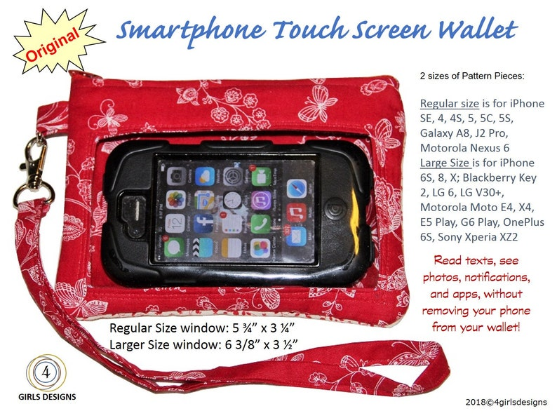 Original Smartphone Touch Screen Wallet Wristlet NOW in Two Sizes to fit  multiple devices like iPhone, Samsung, LG, Motorola, Sony & More