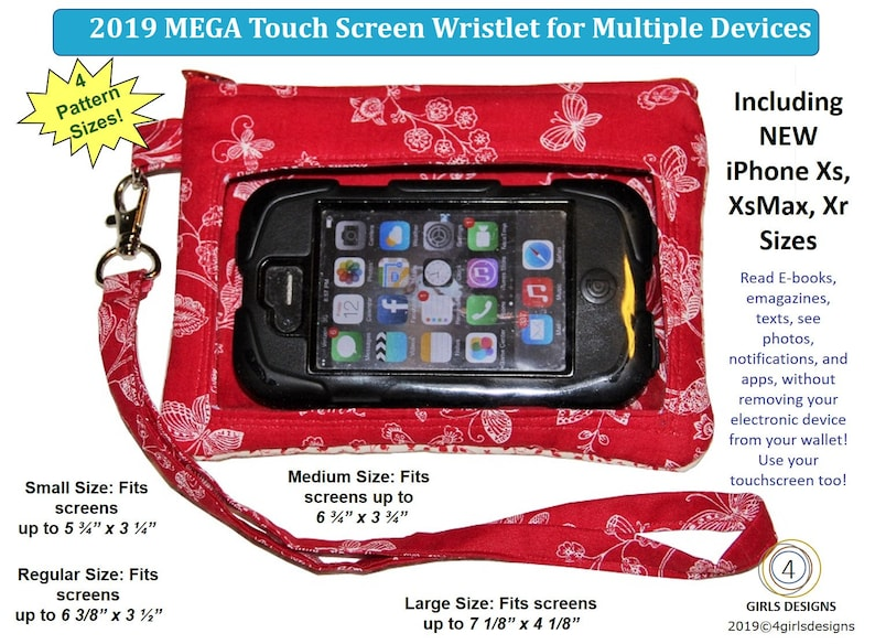 Display your Pins or Your Cell Phone NEW Ita Bag MEGA Touch Screen Wristlet PDF Sewing Pattern for Multiple Devices