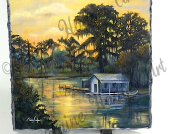 Sunset on the Bayou Slate made from Original Artwork