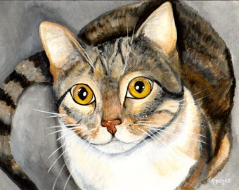 Tabby Cat Print from Original Painting