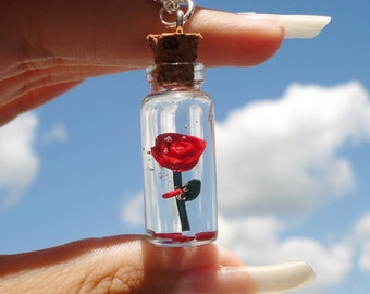 Beauty and the Beast - Enchated Rose in a Bottle Necklace
