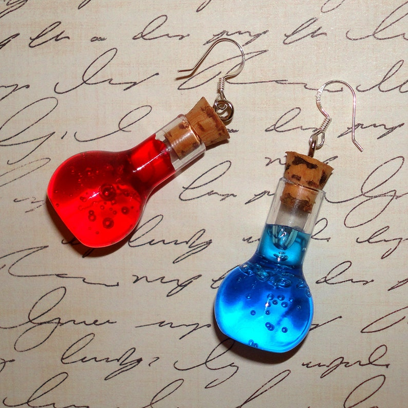 Pair of Health and Mana Potion Earrings  Sterling Silver image 0