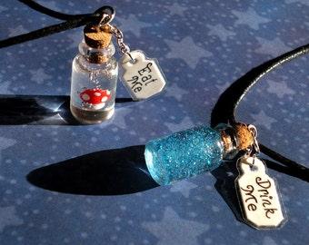 Alice in Wonderland - Eat Me and Drink Me Friendship Necklace Set