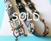 SOLD-Vintage Navajo Sterling Silver Sandcast and Turquoise Black Leather Concho Belt