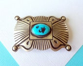 Hemerson Brown Navajo Stamped Sterling Silver and Turquoise Belt Buckle