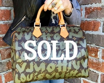c541cce11f4f Limited Edition LOUIS VUITTON Khaki Stephen Sprouse Large Graffiti Speedy 30