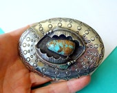 Large Navajo Stamped Sterling Silver and Turquoise Shadowbox Buckle