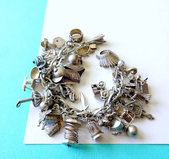 LOADED Mid-Century Sterling Silver Mexican Charm B
