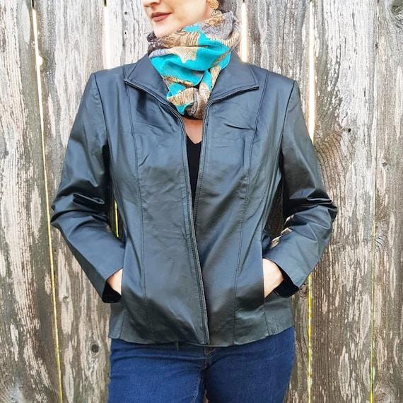 Black Leather Zip Front Jacket Size Petite Medium