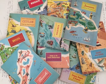 Travel Guide, Around The World ,1950s, Travel Books, just because , travel brochure , Ephemera, American Geographical Society, junk journal