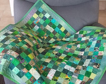 Green Scrappy Squares Table Quilt, Pieced, Patchwork