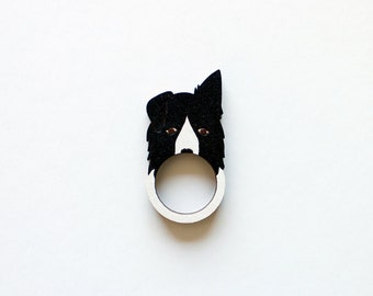 Border Collie Dog Wooden Ring
