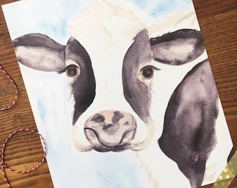 Cow Art. Cow Art Print. Watercolor Cow Painting. Home Decor. Rustic Decor. Ready to Frame. 8x10 Print. Gift Under 20. Nursery Decor
