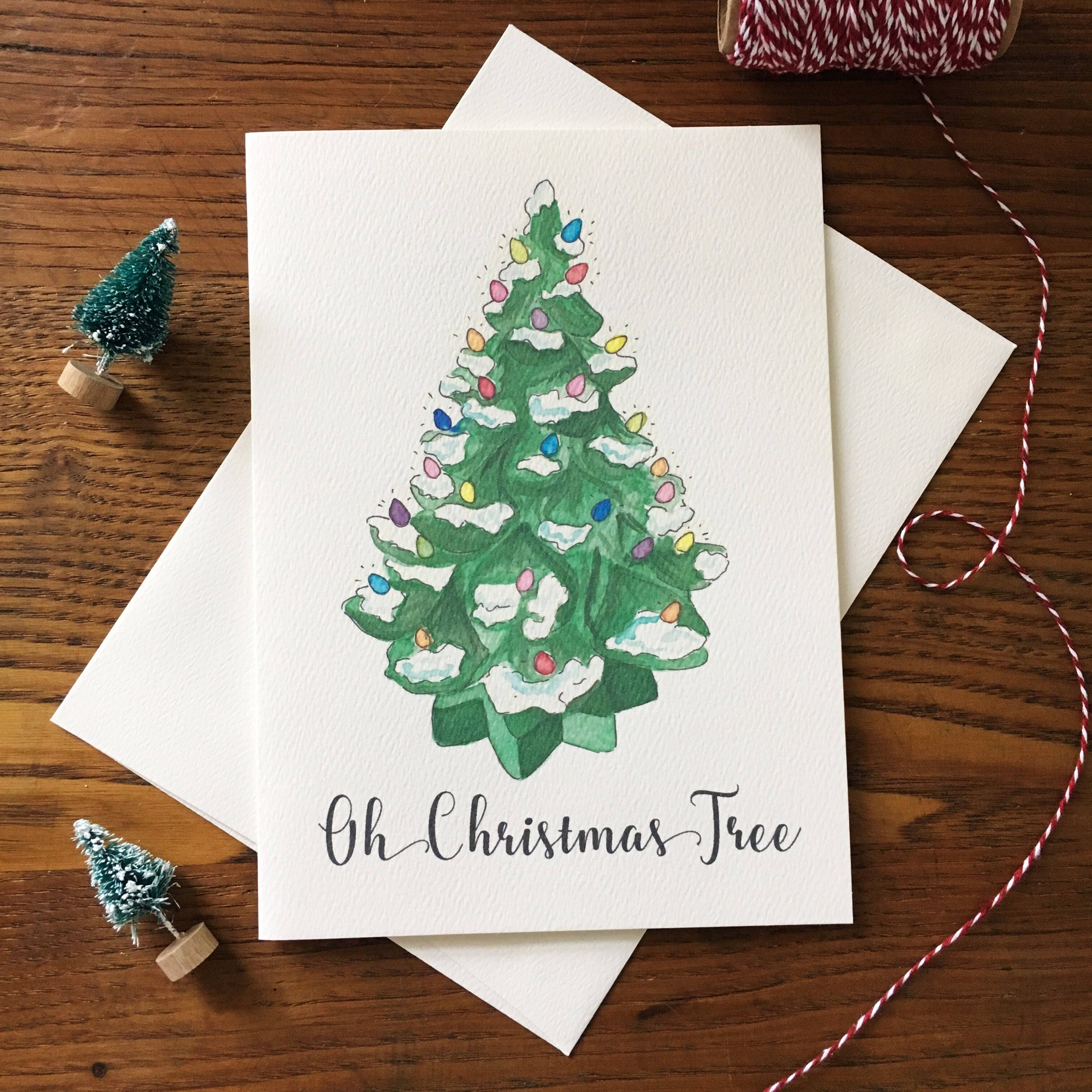 Christmas Tree Card. Vintage Inspired Card. Oh Christmas Tree. | Etsy