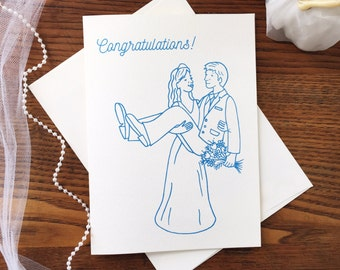 Funny Wedding Card. Marriage Card. Civil Partnership. Congrats Card. Card for Groom. Card for Bride. Congratulations Card. Blank Card
