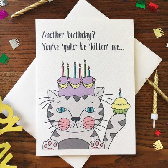 Cat Card Cat Birthday Card Cat Lover Card Cat Pun Card Etsy