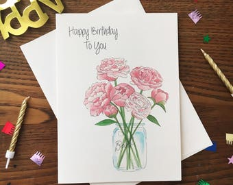 Peony Card. Mason Jar Card. Flower Card. Floral Birthday Card. Watercolor Bouquet. Card for Friend. Peonies Birthday Card. Blank Card.