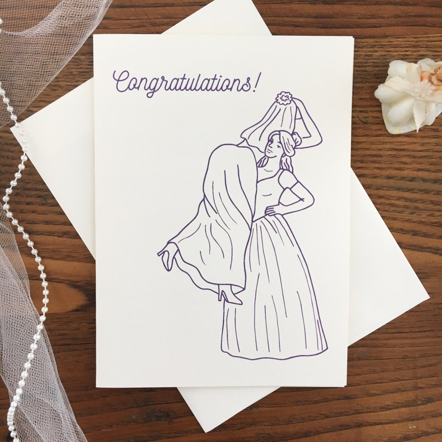 Laser-Cut Papyrus Wedding Card  Gay Lesbian Wife /& Wife Partners in love /& Life