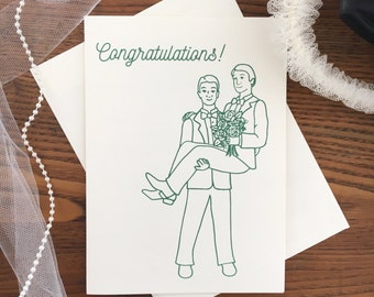 Gay Wedding Card. Gay Card. Gay Marriage. Civil Partnership. Two Grooms. Same Sex Marriage. Congratulations Card. LGBTQ Card. Blank Card