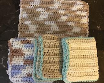 Pattern for Easy  Ridges Crocheted Dishcloth