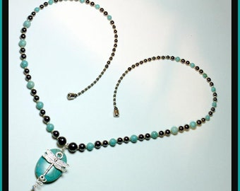 Dragonfly and Turquoise Necklace 779