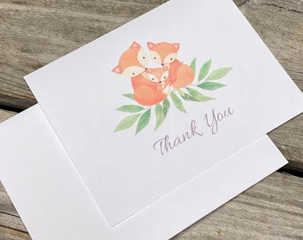 Fox Baby Shower Thank You Cards - Fox Family Thank Yous -  Set of 25