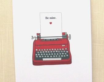 Valentine Note Cards -Typewriter Note Cards - Set of 8
