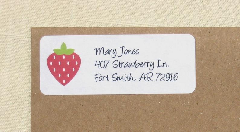 90 Labels Strawberry Address Labels Personalized Return Address Labels